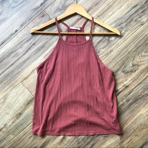 Rusty Red Ribbed Tank Top Racerback Style